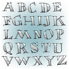Vector Hand Drawn Sketch Alphabet  for Print or Web