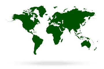 Acrylic Prints World Map world map isolated on white background