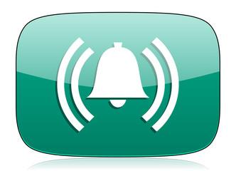 alarm green icon alert sign bell symbol