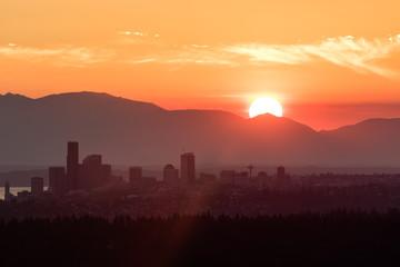 Seattle skyline silhouette during golden sunset