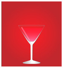 Minimalist Drinks List with Cosmopolitan Red Background EPS10
