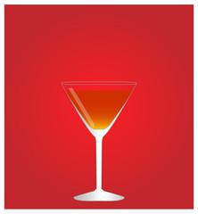 Minimalist Drinks List with Manhattan Red Background EPS10