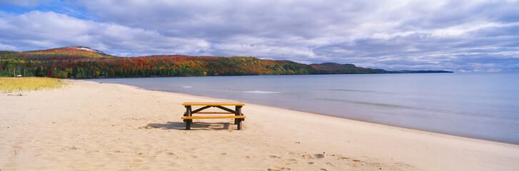 Picnic table on beach at Keweenaw Bay, Lake Superior, Michigan