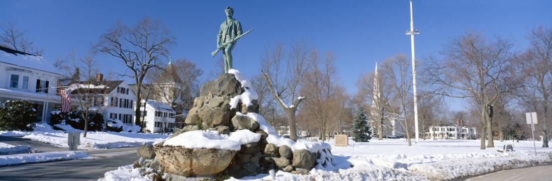 Revolutionary War memorial in winter, Lexington, Massachusetts