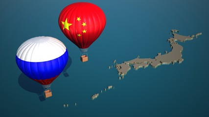 Russian and Chinese navy and air forces are making military exercise in the sea of Japan. Military drills concept