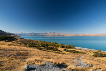 Lake Pupaki with mountains and bushes, New Zealand,
