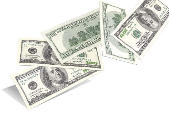 Hundred dollar bills, flying randomly from the bottom up isolated on white background