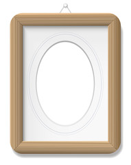 Photo frame - wooden vintage style with mat and french lines. Isolated vector illustration on white background.