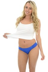 Beautiful Sexy Young Caucasian Pin Up Model Wearing Blue Lingerie