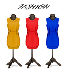 Fashion background with colorful dresses. Vector.