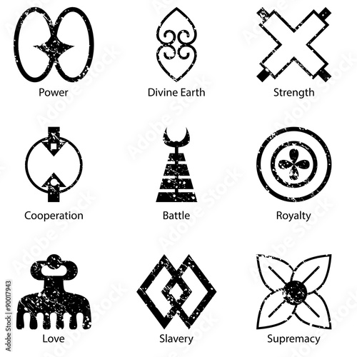African Adinkra Symbol Icon Set Stock Image And Royalty Free Vector