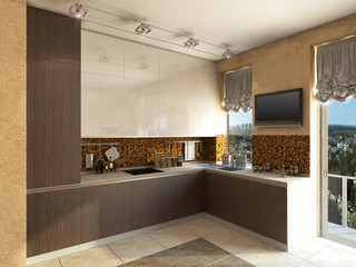 3D illustration of kitchen with wooden and glass facade