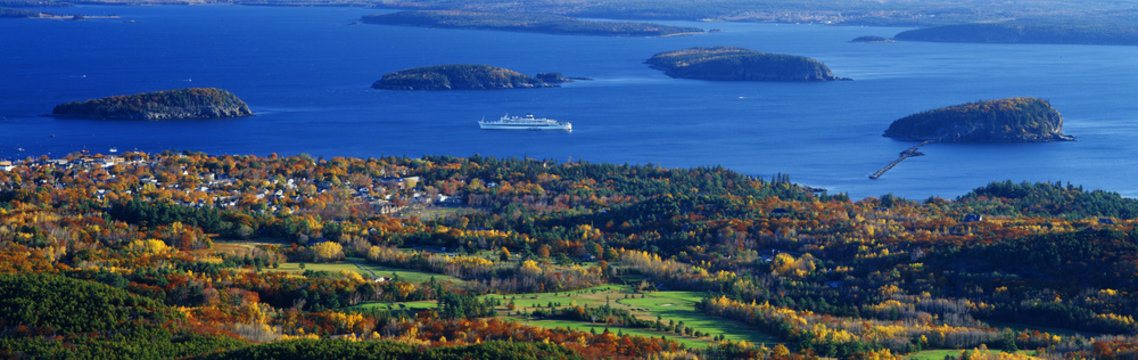 Cruise ship and Mount Desert Island, Acadia National Park, Maine