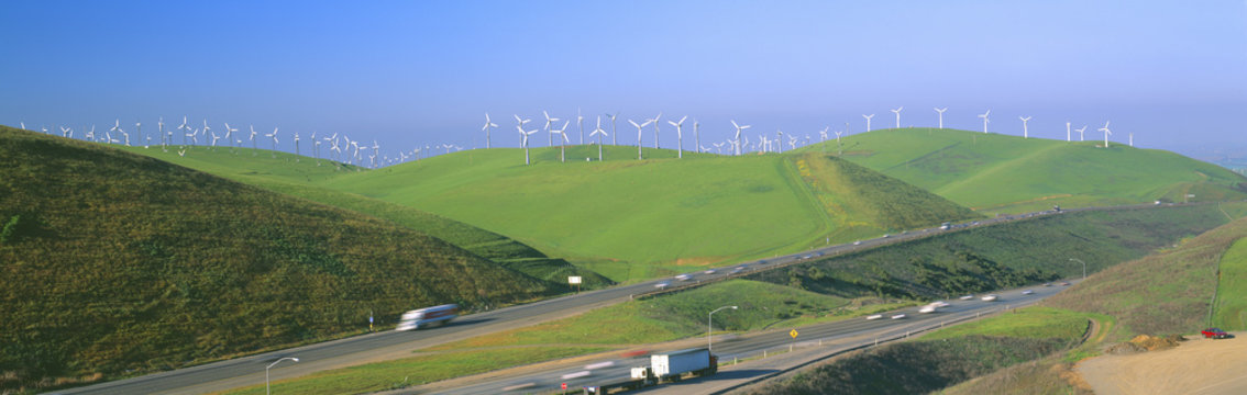 Wind energy windmills along Route 580, Altamont, California