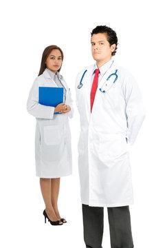 Latino Asian Team Doctors Serious Caring V