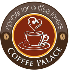 Vector, Coffee Palace shape of a cup of hot coffee, coffee beans as well as a symbol or logo effort cafes and restaurants