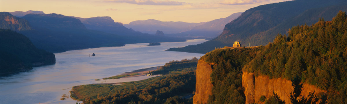 This is Crown Point overlooking the Columbia River at sunset. It is also known as Woman's View.