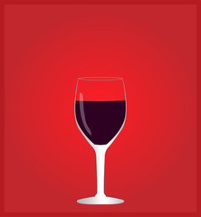 Minimalist Drinks List with Red Wine Red Background EPS10