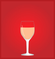 Minimalist Drinks List with Rose Wine Red Background EPS10