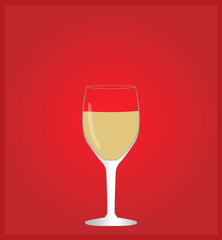 Minimalist Drinks List with White Wine Red Background EPS10