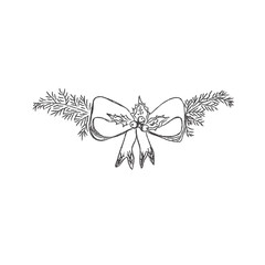 Christmas decoration, pine, vector illustration in sketch style