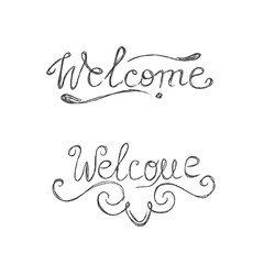 Welcome, hand, lettering, sign, sketch