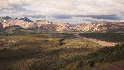 Fototapete - The Peaks and Valleys of Denali Alaska Territory