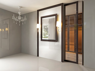 3D rendered interior luxury room with chandelier