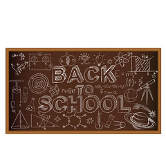 Back to school chalk board. Set of doodles on brown background