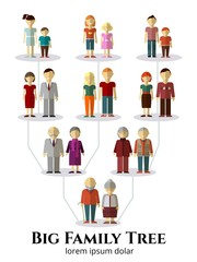 Family tree with people avatars of four generations flat vector