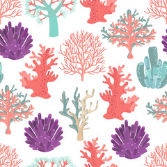 Wall Mural - Corals seamless pattern