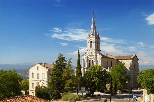 The view on church in Bonnieux, Provence, France