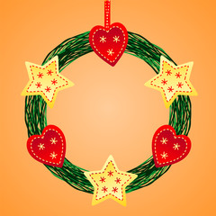 Christmas wreath of holly berry, fir branch and red ribbon, vector illustration