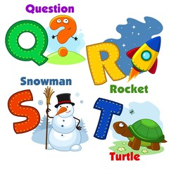 English alphabet  Q R S T with letters and pictures to them