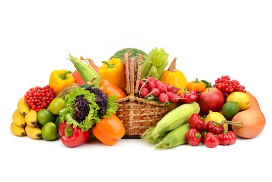 composition of fruits and vegetables in basket