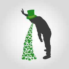 St Patrick day icon, drunk man sick with clover, vector