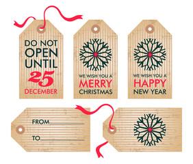 Christmas Gift Tags, vector illustration