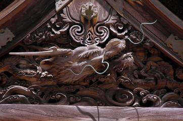 高野山金剛峯寺の龍の彫刻