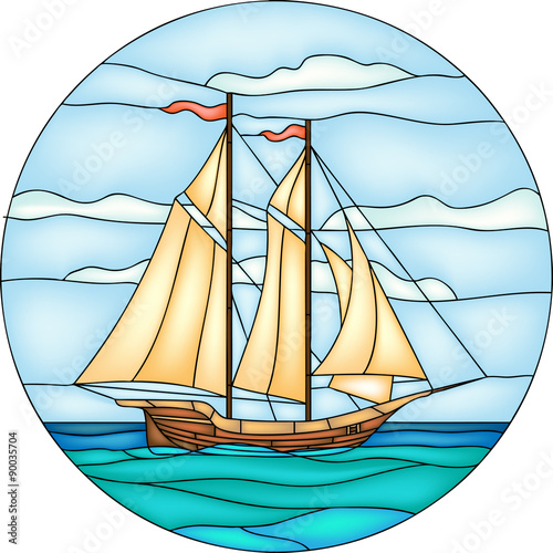 Vector Ilration Of Sailing Ship In Round Stained Gl Window Frame