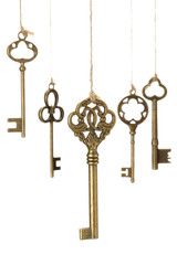 アンティークキー/吊り下げられた古い鍵