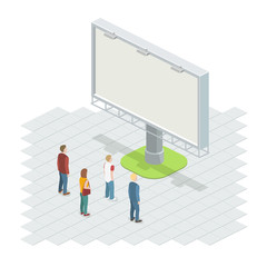 People on the street looking at the billboard. Isometric vector