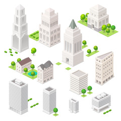 Set of the isometric vector elements. Skyscrapers, trees and oth