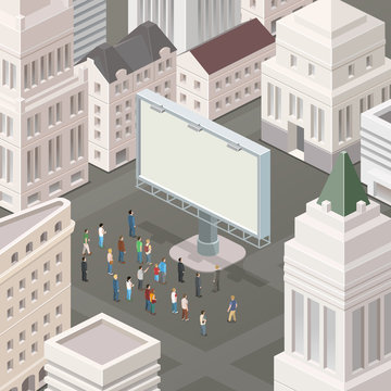 People in the square looking at the billboard. Isometric vector