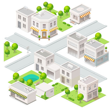 City  isometric buildings. Set of the vector elements