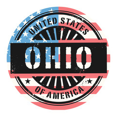 Grunge rubber stamp with the text United States of America, Ohio