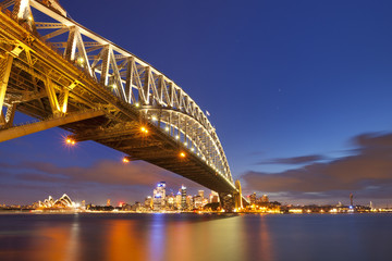 Harbour Bridge and Sydney skyline, Australia at night