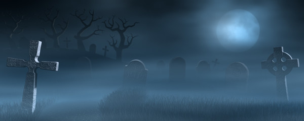 Tombstones on a spooky misty graveyard, full moon at night