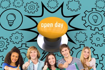 Open day against yellow push button