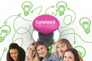Homework against pink push button