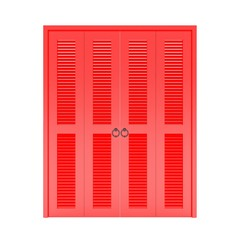 red folding door with grill ,3d